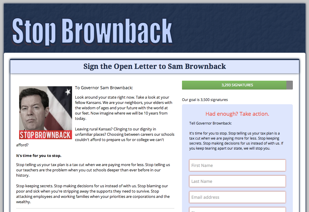 Stop Brownback Petition