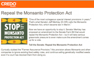 CREDO Action launched the a petition to stop the Monsanto Protection Act